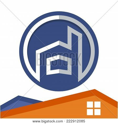 Circle logo icon for business development of construction services, with the initial of the letter D