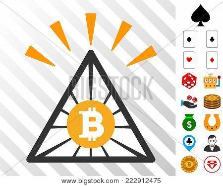 Bitcoin Pyramid Shine icon with bonus casino pictographs. Vector illustration style is flat iconic symbols. Designed for casino websites.