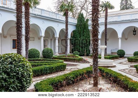 LIVADIA, RUSSIA - MARCH 21, 2011: View of Italian courtyard of the Livadia Palace. It is the former southern residence of Russian emperors. It was built in 1911.