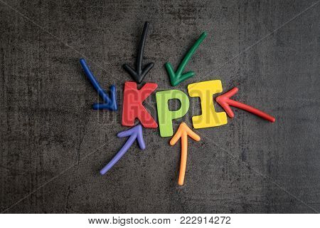 KPI, Key Point Indicator business target and goal management concept by multiple arrow pointing to colorful alphabet at the center.