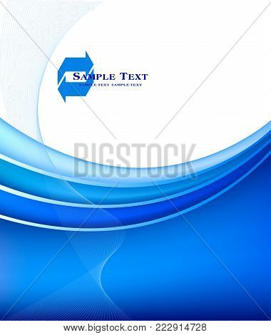 Blue abstract background wavy lines on white background