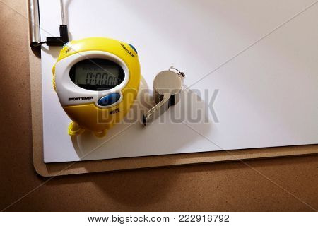 digital stop watch with silver whistle