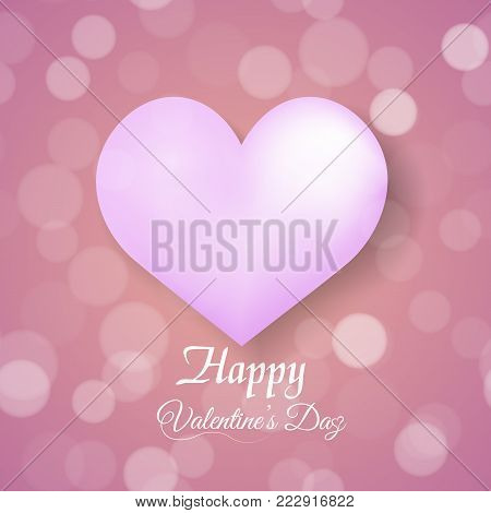 Valentine's greeting card with defocused dots red balloon and pink hearts. Vector.