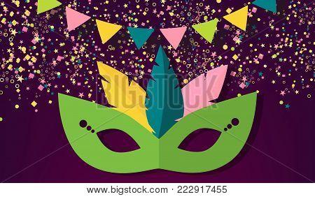 Mardi Gras carnival background, vector illustration. Flat colorful Mardi Gras mask, confetti on purple traditional background.