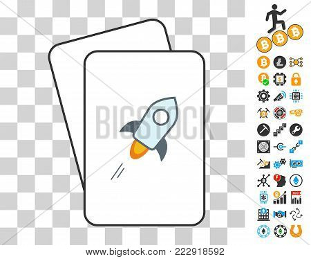Stellar Currency gambling cards pictogram with additional bitcoin mining and blockchain symbols. Flat vector style for bitcoin toolbars. poster
