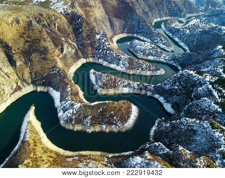 Air view of Uvac river meanders in winter