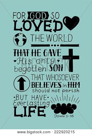 Golden Bible verse John 3 16 For God so loved the world, made hand lettering with heart and cross. Biblical background. Christian poster. Modern calligraphy. Graphics. Scripture. New testament poster