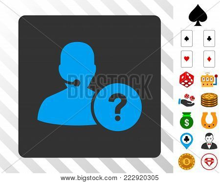 Online Support blue icon inside gray rounded rectangle with bonus gambling design elements. Vector illustration style is flat iconic symbols. Designed for gamble ui.