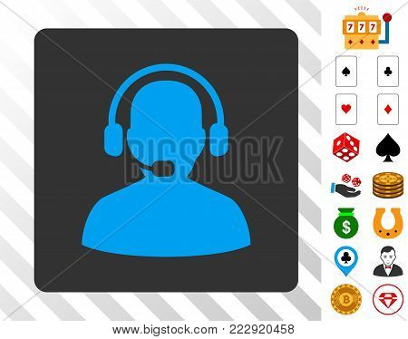 Receptionist blue icon inside gray rounded square with bonus gamble icons. Vector illustration style is flat iconic symbols. Designed for casino software.