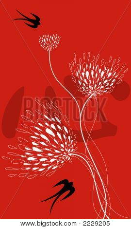 "lace flowers swallows on red (vector) - illustration / chinese word ""xing"" means ""heart"" in english poster"