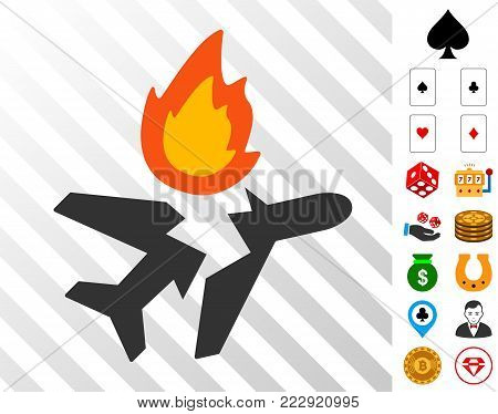 Airplane Crash icon with bonus gamble design elements. Vector illustration style is flat iconic symbols. Designed for gambling gui.
