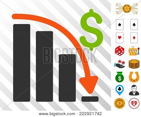 Default Crisis Fail pictograph with bonus casino pictograms. Vector illustration style is flat iconic symbols. Designed for gambling software.