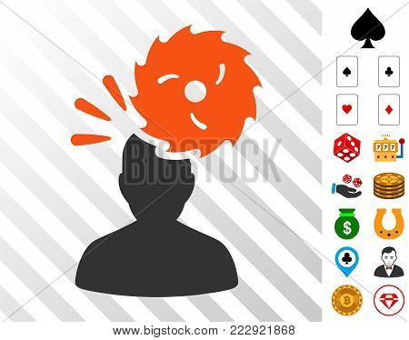 Destroy Person pictograph with bonus gambling images. Vector illustration style is flat iconic symbols. Designed for casino apps.