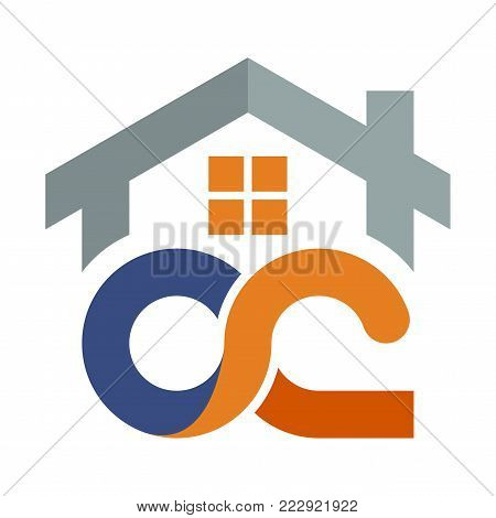 Icon logo for the construction services business development, with a combination of initials letter O & C