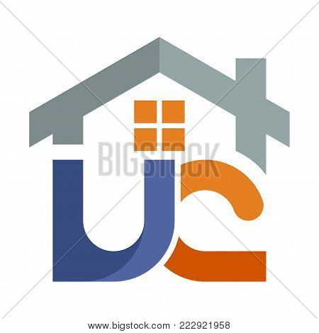 Icon logo for the construction services business development, with a combination of initials letter U & C