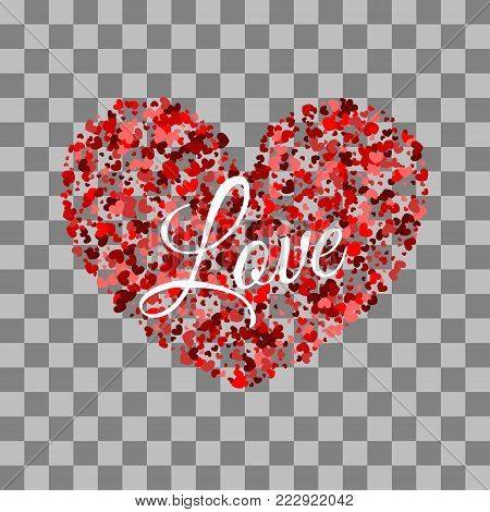 Vector illustration Valentines Day background. Love random falling paper confetti. Shimmer hearts. Frame decoration design Valentine holiday. Origami decoration. Greeting text. Shape red heart.