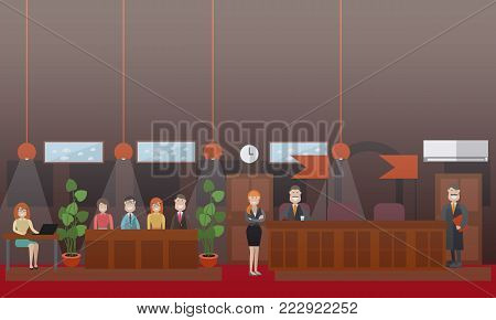 Vector set of legal trial scenes with judge, the jury, woman recording court hearing and lawyers. Courtroom interior. Flat style design illustration.