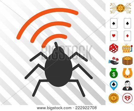 Radio Spy Bug icon with bonus casino clip art. Vector illustration style is flat iconic symbols. Designed for gambling software.