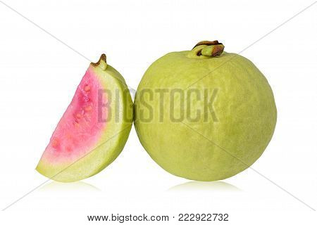 Guava fruit isolated on a white background with clipping path
