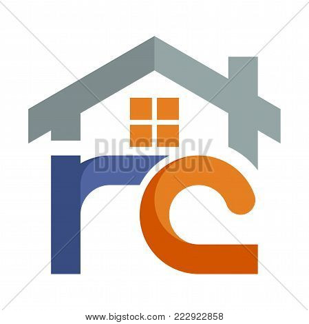 Icon logo for the construction services business development, with a combination of initials letter R & C