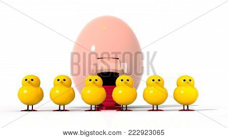A 3D illustration featuring a row of 7 easter chicks standing in front of an Easter egg spaceship.