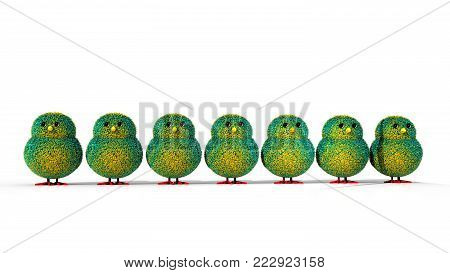 A 3D illustration featuring a row of easter chicks with multi colors, green and yellow feathers and facing forward.