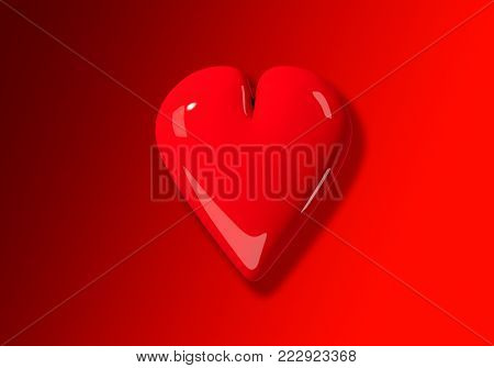 A 3D illustration of a single, large red valentine's day heart on a red background.