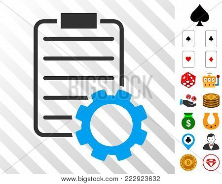 Smart Contract Gear icon with bonus gamble pictograms. Vector illustration style is flat iconic symbols. Designed for gambling gui.