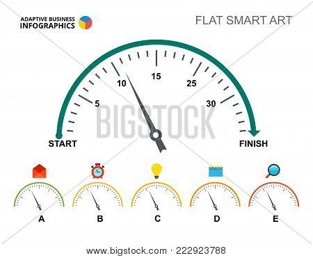 Six speedometers process chart slide template. Business data. Value, gauge, design. Creative concept for infographic, project. Can be used for topics like analysis, management, statistics.