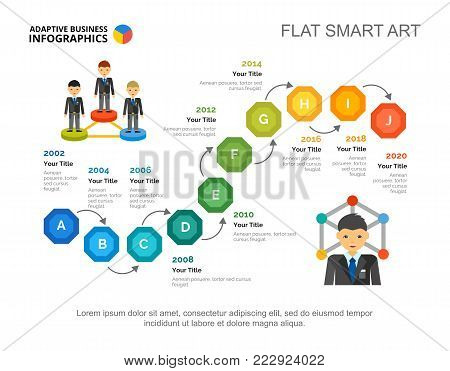 Ten steps process chart slide template. Business data. Year, timeline, design. Creative concept for infographic, project. Can be used for topics like planning, strategy, research.