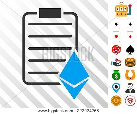 Ethereum Contract pictograph with bonus gamble icons. Vector illustration style is flat iconic symbols. Designed for gamble websites.