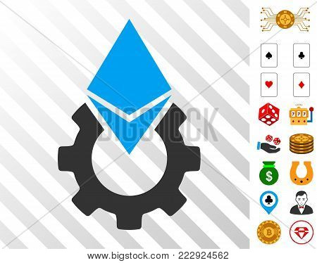 Ethereum Tools Gear pictograph with bonus gambling pictographs. Vector illustration style is flat iconic symbols. Designed for gamble ui.