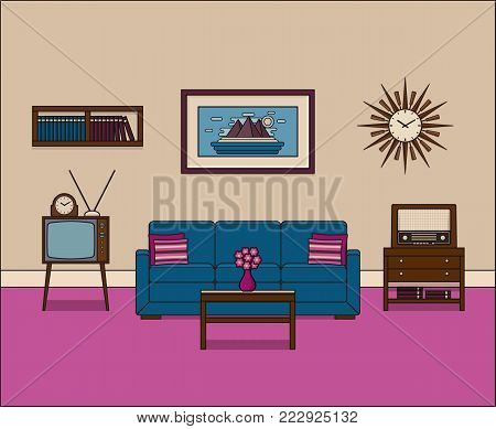 Living room in flat design. Retro room interior in line art. Vector graphics. Linear illustration. Thin line home space with sofa, TV and radio. House equipment 60s. Vintage background.