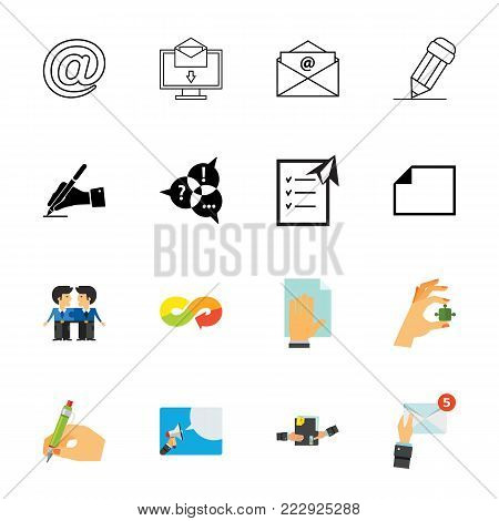 Communication icon set. Can be used for topics like message, letter, correspondence, information