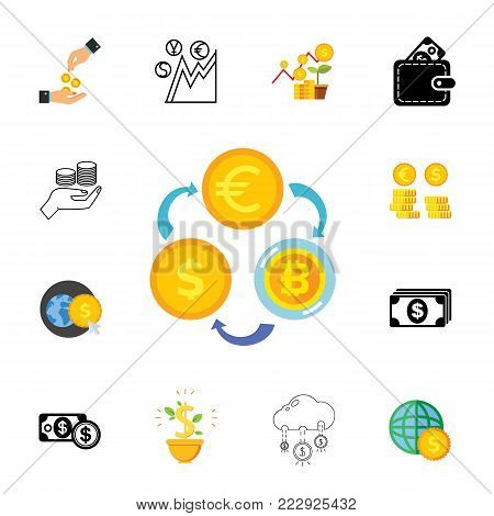 Currency exchange icon set. Can be used for topics like earning money, economy, banking, investment