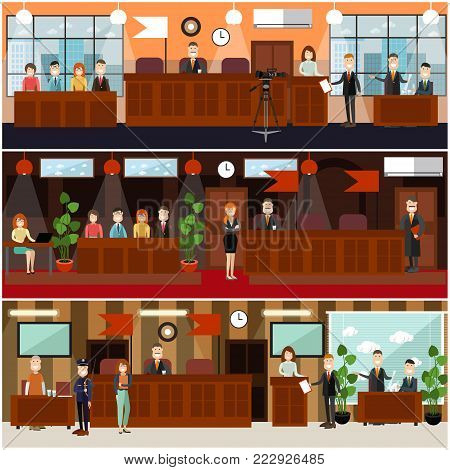 Vector set of legal trial scenes with judge, jury, lawyers questioning witness, security guard, defendant, woman recording court hearing. Courtroom interior. Flat style design illustration.