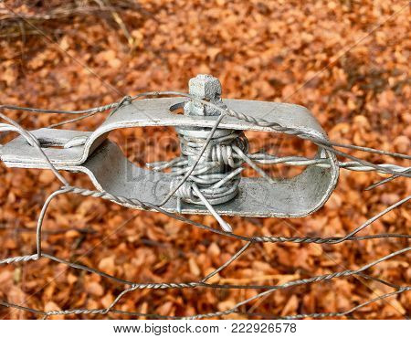 Old wire tensioner of a wire fence in closeup in front of a forest