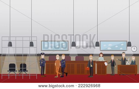 Vector set of legal trial scenes with lawyers questioning witness, security guard leading defendant with hands behind his back. Courtroom interior. Flat style design illustration.