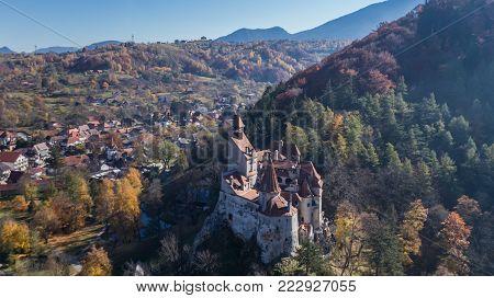 The medieval Castle of Bran known for the myth of Dracula. Brasov Transylvania. Romania