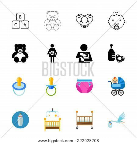 Nursery room icon set. Can be used for topics like motherhood, baby, parenting, pregnancy