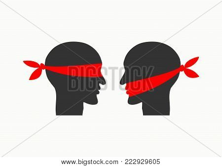 Mouth tied, blindfolded. Misunderstanding due to communication problems. Icon prohibition. Vector illustration