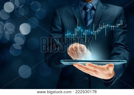 Investor and trader concept - investor with tablet and tradeview graph. poster