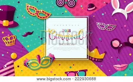 Carnaval funfair card with square frame, photo booth props and masks on colorful modern geometric background. Vector illustration. Place for your text.