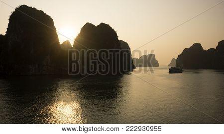 Sunrise at Bai Tu Long bay, northeast area of Halong Bay, Vietnam
