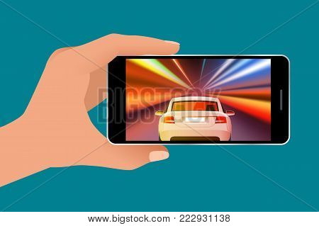 Video game screen and gamer person gaming online on android phone or tablet. Driving car in video game. Vector isometric illustration.