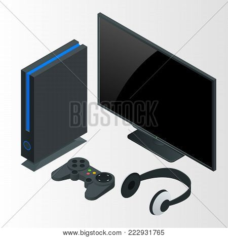 Video game console isometric vector illustration. Game gadgets isometric icons collection of consoles joysticks gamepads