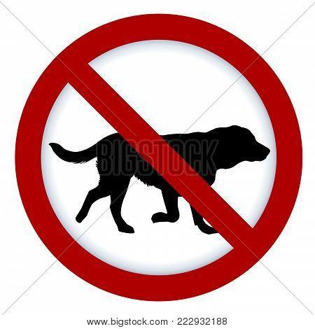 Prohibition dog sign  illustration on white background