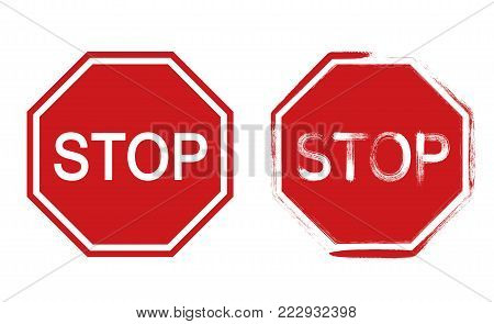 Stop sign, grunge style  - stock vector.