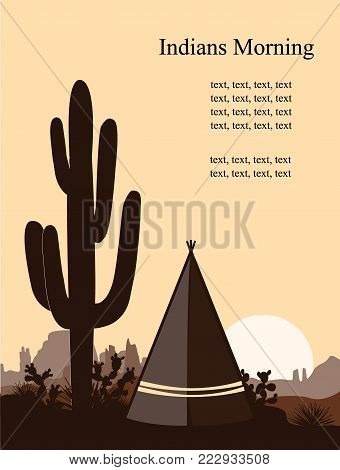 Indian wigwam silhouette with prickly pear, mountains, and saguaro. . Vector landscape