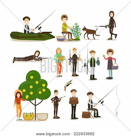 Vector illustration of hunter with hunting equipment, fisher with fishing rod, people picking blueberries and apples. Hunter people flat style design elements, icons isolated on white background.